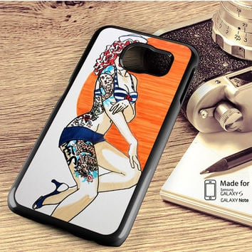 Pin Up Girl Tatto Costume Samsung Galaxy S4 S5 S6 Edge Plus S7 Edge Case Note 3 4 5 Edge Case