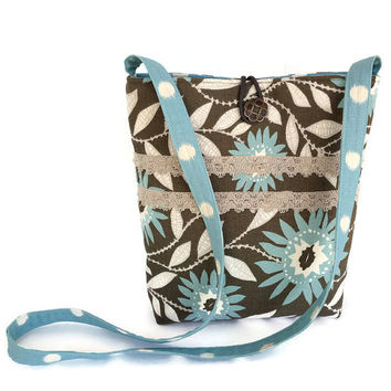 Cross body bag green, crossbody bag floral, cross body purse, crossbody purse grey, Womens handmade handbag floral, blue print tote