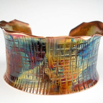 Hammered Copper Cuff, Forged Copper Bracelet, Anticlastic, Rustic, Colorful Heat Patina, Womens Copper Jewelry- Intersecting Lines