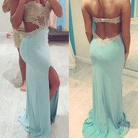 Lace Prom Dresses Backless Prom Dresses Backless Evening Dress