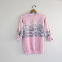 vintage ugly pink Christmas sweatshirt  // tacky christmas sweater // holiday party sweater with rabbits in the snow