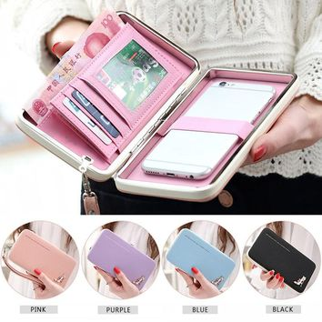 2017 Lovely Lady Wallets Women Long Wallets Purses Clutch Bags Phone Case For iPhone 6 Plus Lady Cute Coin Purse LT88