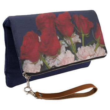 Red Roses and Pink Carnations Floral Clutch