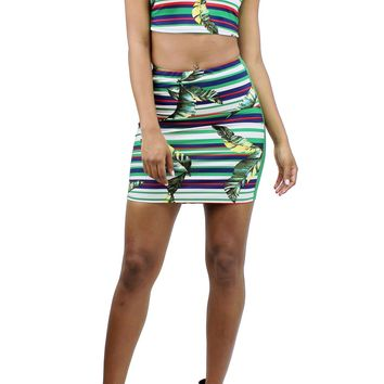 Stripe and Palm Leaf Print Sleeveless Crop Top and Pull Over Mini Skirt Set