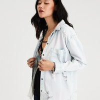 AE Destroy Denim Boyfriend Shirt, Multi