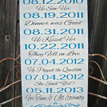 PERSONALIZED - Our Love Story - Wedding Sign, Important Dates, Bridal Shower Gift, Wedding Decor