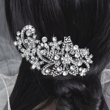 Wedding/Bridal Crystal Flower Hair Comb