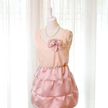 Satin Flower Rosettes Baby Pink Eyelet Lace Cocktail Party Dress with Structure Puff Satin Bottom- Burlesque Dusty Pink