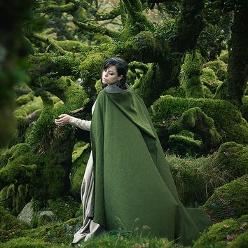 Green cloak cotton mixed cape with hood