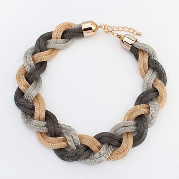 New Arrival Gift Shiny Stylish Jewelry Fashion Simple Design Bohemia Twisted Necklace [6586309767]