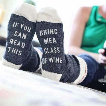 Socks If You can read this Bring Me a Glass of Wine Woman Men Cotton Socks G
