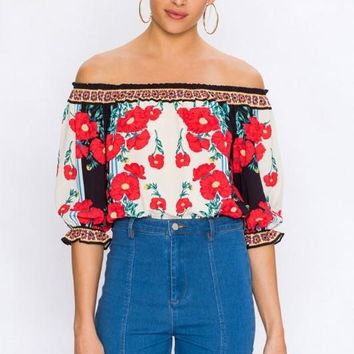 Jordan Off Shoulder Festival Boho Crop Top