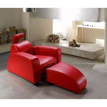 VIG Divani Casa Rosso - Modern Leather Lounge Chair & Ottoman In Red