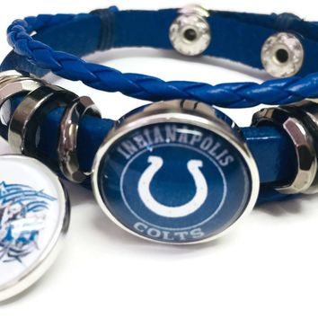 NFL Tribal Tattoo Art And Horseshoe Indianapolis Colts Bracelet Blue Leather Football Fan W/2 18MM - 20MM Snap Charms New Item
