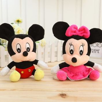 Hot Lovely Mickey Mouse & Minnie Mouse Plush Toys 18CM Stuffed Cartoon Anime Dolls Children Baby Stuffed Toys For Kids toys Gift