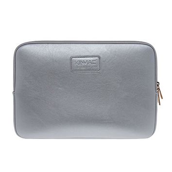 14 Inch Computer Bag Simple Style Leather Laptop Sleeve Zipper Case Cover Silver