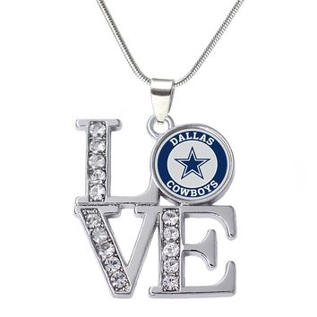 Double Nose Eco friendly Alloy Inlaid Sticker Dallas Cowboys Necklace With Snake Chain For Football Fans Gift Souvenir Jewelry