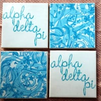 Lilly Pulitzer Inspired Alpha Delta Pi Tile Coasters