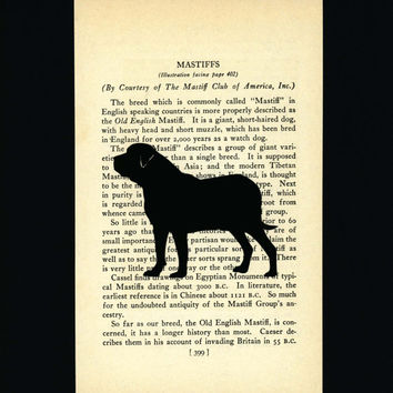 Mastiff Silhouette - Hand-cut Mounted on Vintage Dog Book Page 399 and 8x10 Black Cardstock