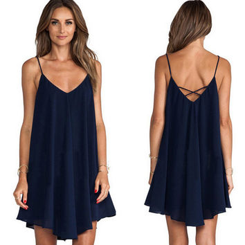 Womens Sexy V-Neck Backless Irregular Dress +Necklace