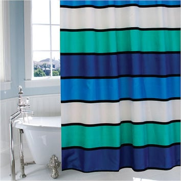 Funky, bright, striped shower curtain