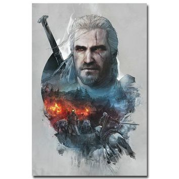 "NICOLESHENTING Geralt - The Witcher 3 Wild Hunt Hot Game Art Silk Poster 12x18 32x48"" Picture for Home Wall Decor 002"