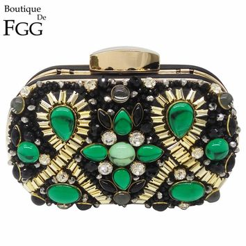 Green Emerald Crystal Black Beaded Metal Women Evening Clutch Bags Wedding Party Bridal Handbags and Purses Chain Shoulder Bag