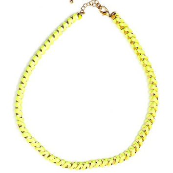 Neon Yellow Braided Cord Necklace Electric Fluorescent Green NH36 Statement Choker Collar Fashion Jewelry