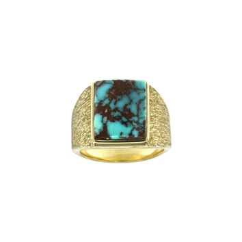Bisbee Turquoise Ring in 18k Yellow Gold - Size 12.5