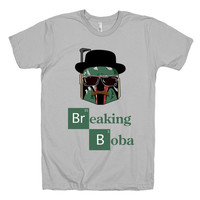 Breaking Boba T shirt, Breaking Bad and Star Wars Parody tee, unisex geek t, american apparel, silver