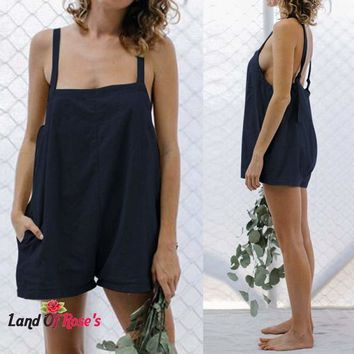 Plus-Size 100% Cotton Linen Strappy Rompers Backless Playsuits Short Overalls