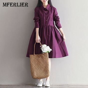 Mferlier Winter Dress Preppy Womens Clothing Purple Dress Loose Cotton Linen Long Sleeves Sweetheart Dress