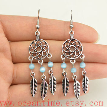dream catcher earring,turquoise feather earring,gypsy earring, cute earrings,girlfriend gift,bff gift,Oceantime