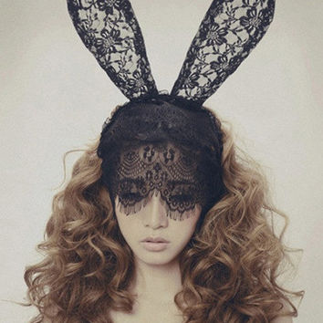Black Rabbit Ears Lace Headpiece