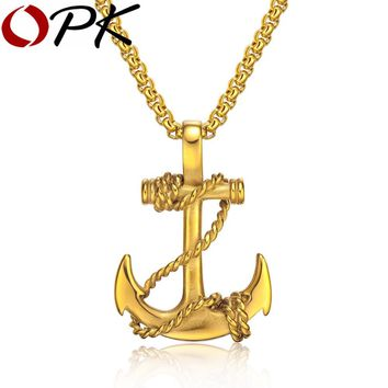 OPK Ocean Anchor & Rope Pendant Necklaces For Cool Men Punk Style 316L Steel Box Link Chain 3 Colors Personality Jewelry GX1134