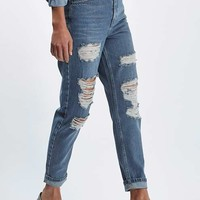 MOTO Blue Super Rip Mom Jeans - Clothing