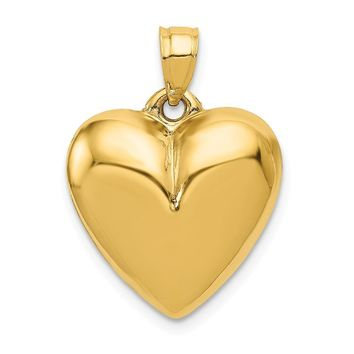 14k Yellow Gold Puffed Heart Tapered Bail Pendant, 15mm
