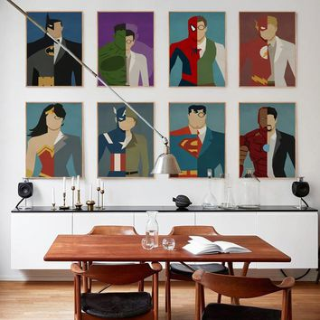 Canvas Posters And Prints Abstract Marvel Super Hero Iron Man Captain Batman A4 Wall Art Canvas Painting Picture Home Decoration