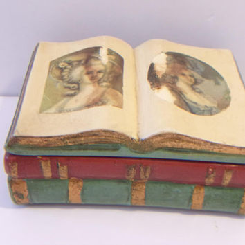 Vintage Book Trinket Box Victorian Woman Ceramic Jewelry Box Home Decor Decorating Accents