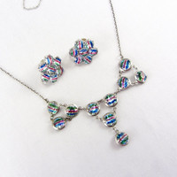 Antique Iris Crystal Necklace and Earring Set Art Deco 835 European Silver Watermelon Glass Demi Parure Rainbow Crystal Jewelry