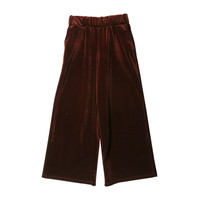 Velvet Wide Leg Pants (Wine) | STYLENANDA