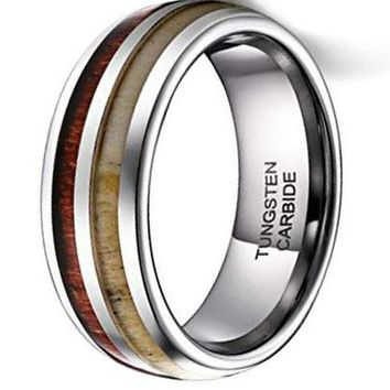 CERTIFIED 8MM  Mens Wedding Band Deer Antler&Wood Tungsten Ring Comfort Fit