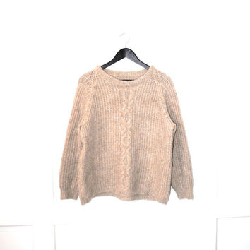 MINIMALIST tan wool knit sweater vintage 80s relaxed fit pull over neutral jumper