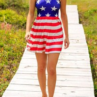 Streetstyle  Casual Blue Striped American Flag Print Draped Sleeveless Cute Mini Dress