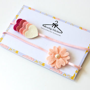 Newborn baby headband, peach flower hairband, glitter hearts head band, toddler hair accessories, felt and pearls, floral, bridal hair