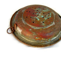 Old copper strainer. Copper kitchen wall hanging. Verdigris patina. Farmhouse kitchen decor. Vintage.