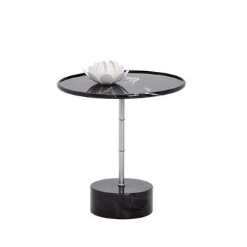 MILAN BLACK MARBLE TOP AND BASE WITH STAINLESS STEEL SIDE TABLE