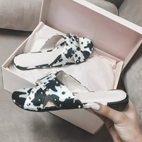 Moo Shoes Studded Cow Print Slides