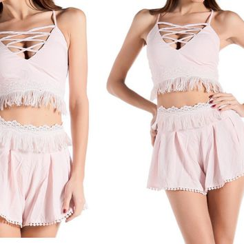 Shabby Chic Boho Pink Two-Piece