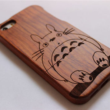 custom Totoro wooden iPhone 6 case, waves of the sea iphone 6plus wood case, iphone 5 case, iphone 5c case,iphone 4 case